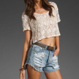 Free People Lace Crop Top Cream